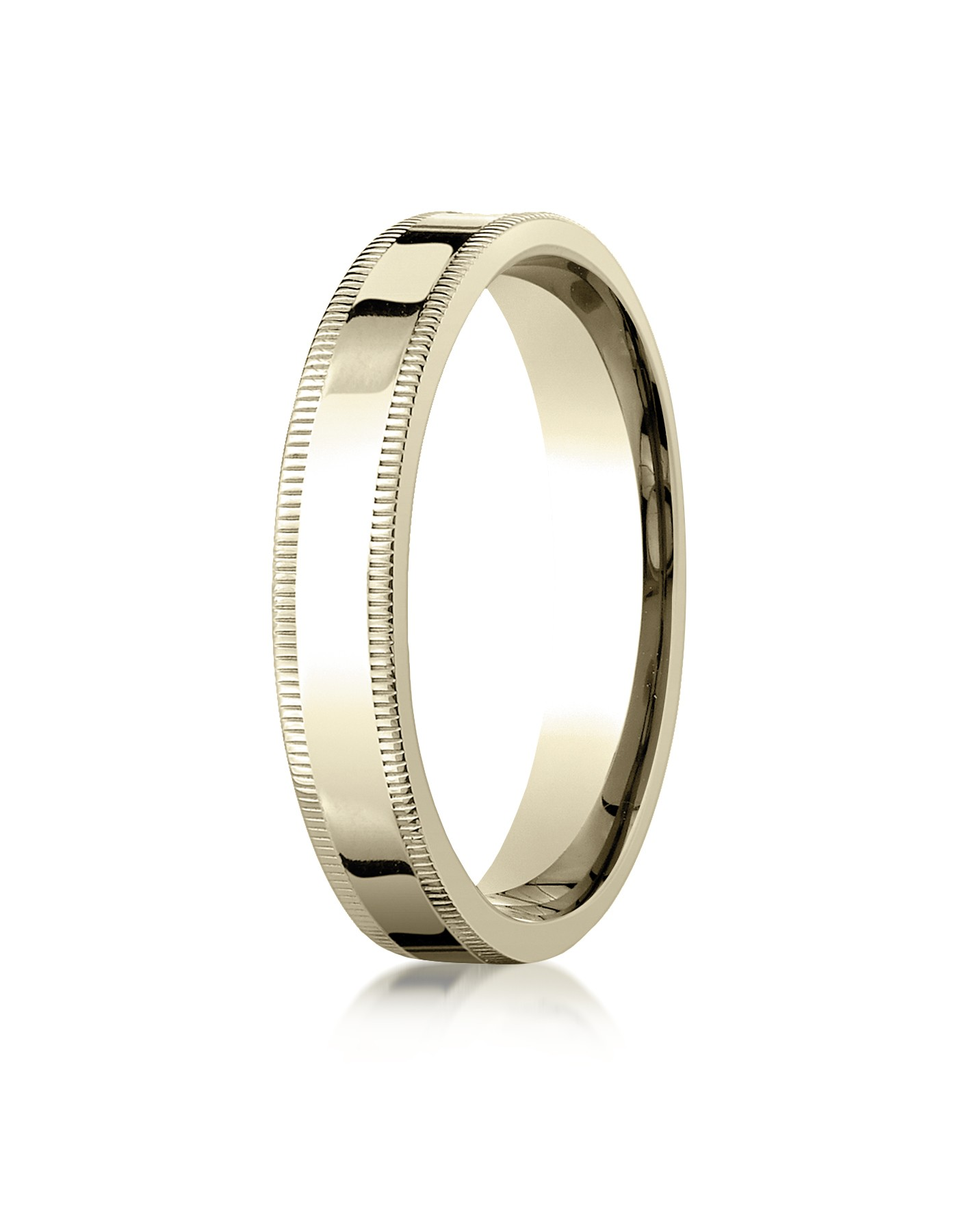 14k Yellow Gold 4mm Flat Comfort-fit Ring With Milgrain