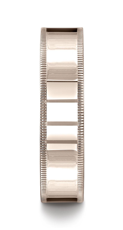 14k Rose Gold 6mm Flat Comfort-fit Ring With Milgrain