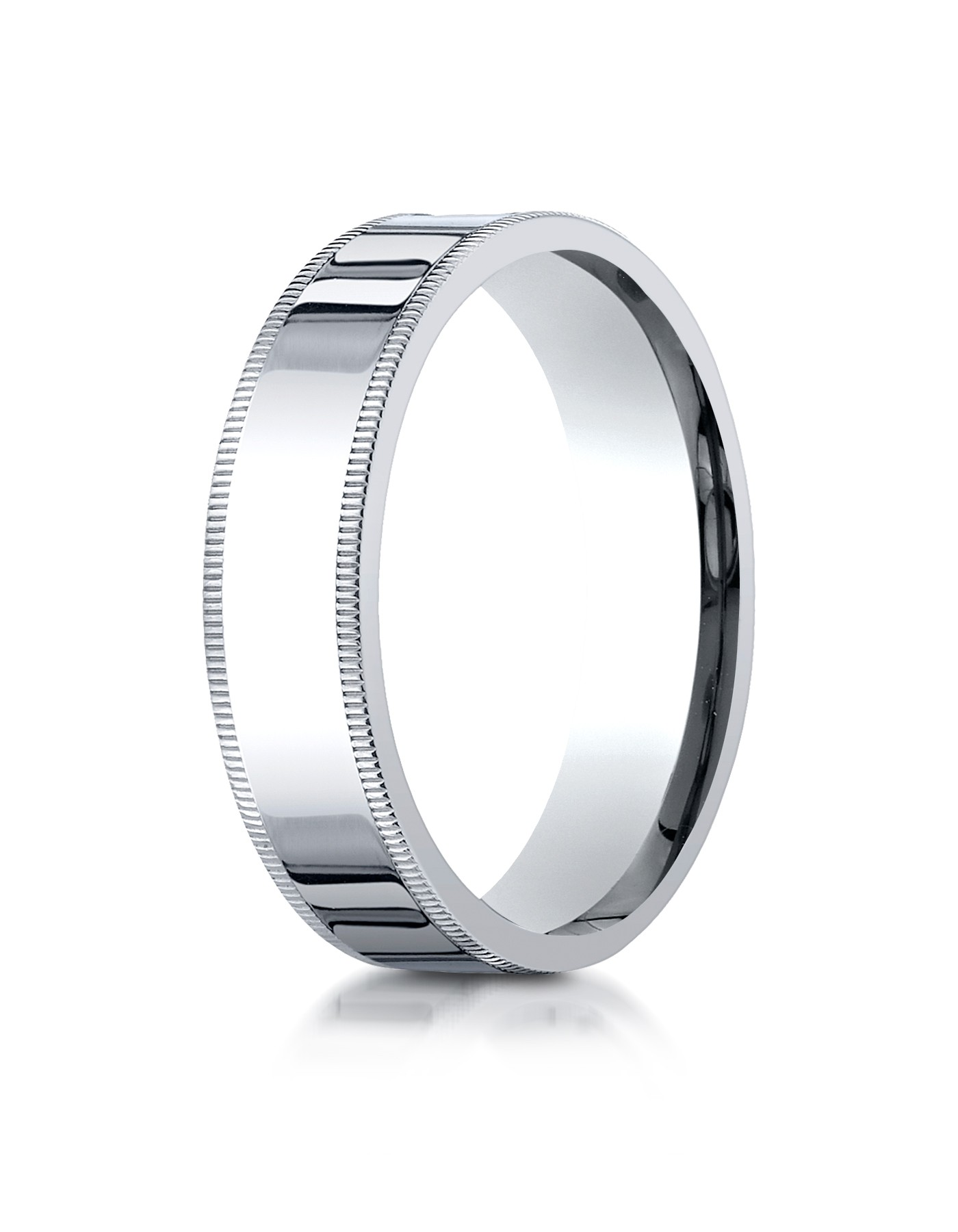 14k White Gold 6mm Flat Comfort-fit Ring With Milgrain