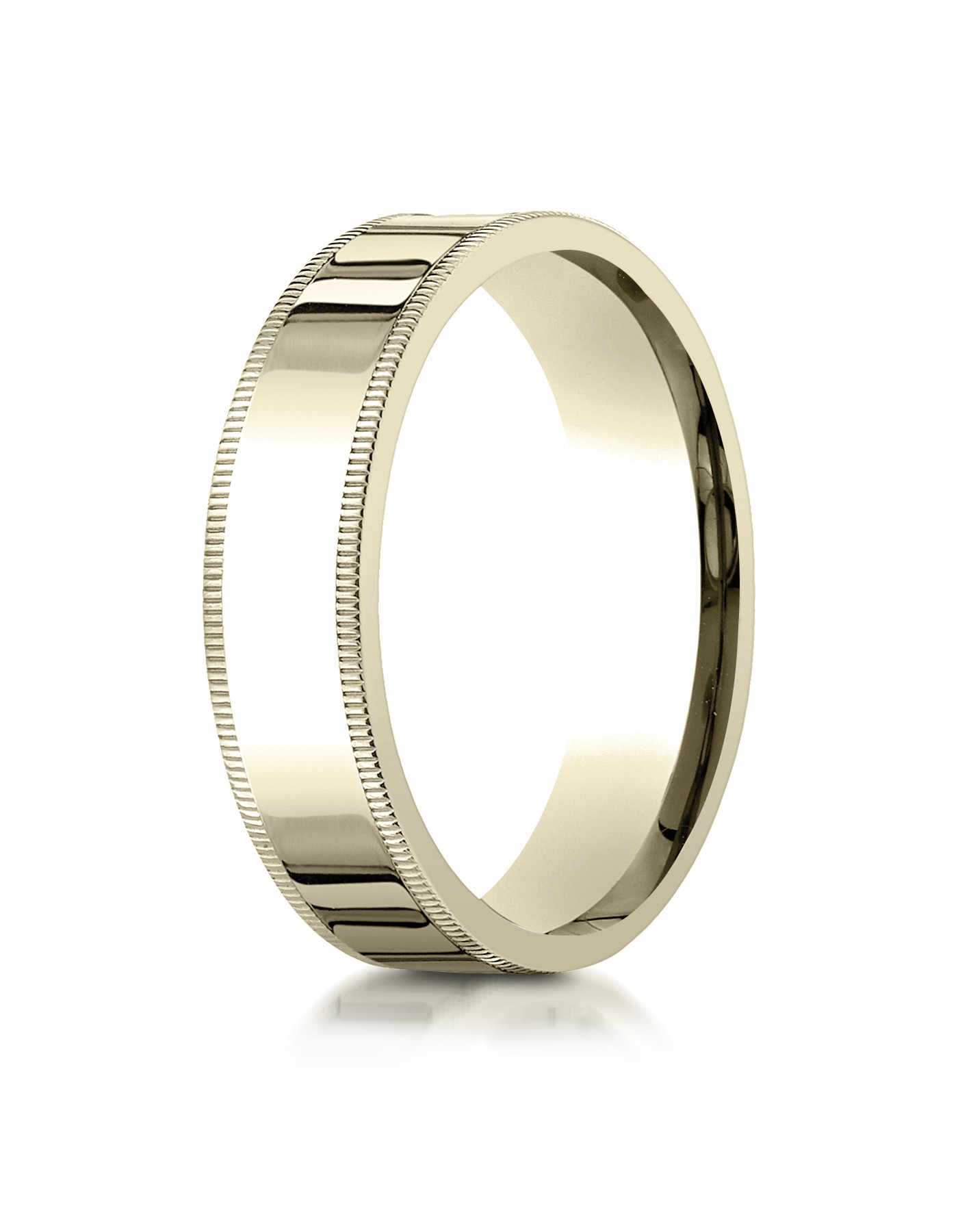 14k Yellow Gold 6mm Flat Comfort-fit Ring With Milgrain