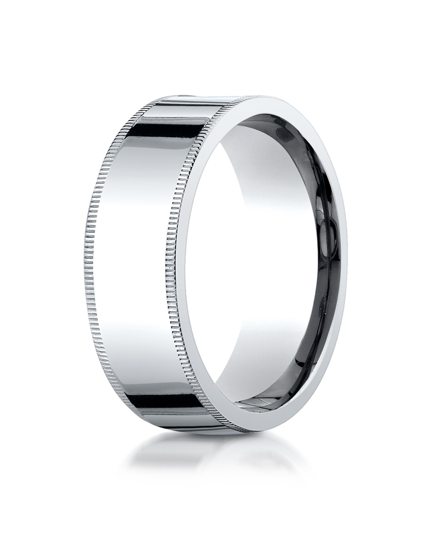 14k White Gold 8mm Flat Comfort-fit Ring With Milgrain