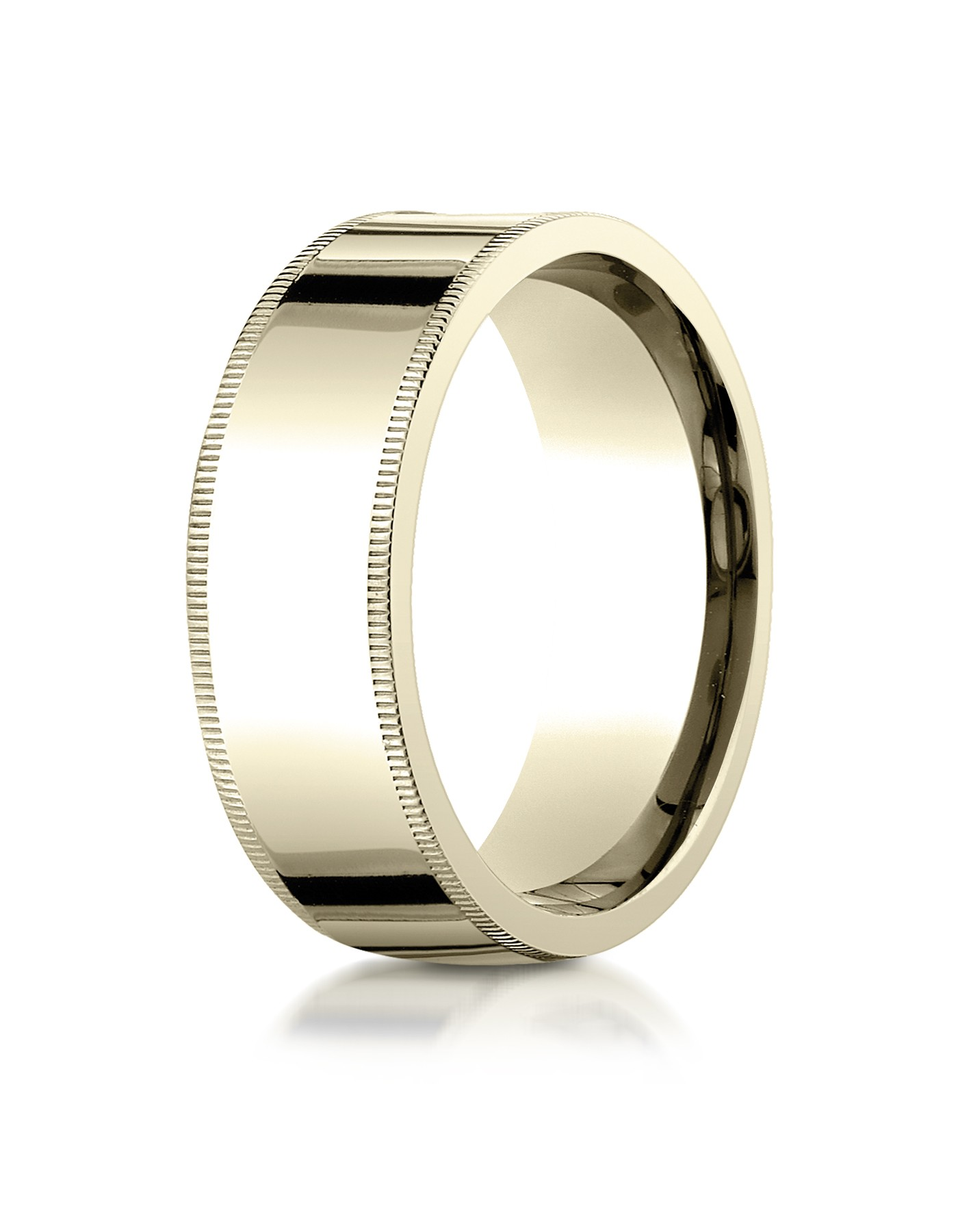 18k Yellow Gold 8mm Flat Comfort-fit Ring With Milgrain