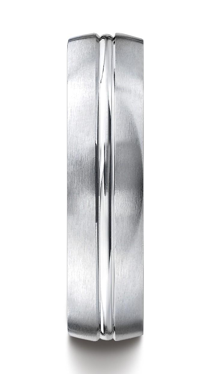 14k White Gold 6mm Comfort-fit Satin-finished With High Polished Center Cut Carved Design Band