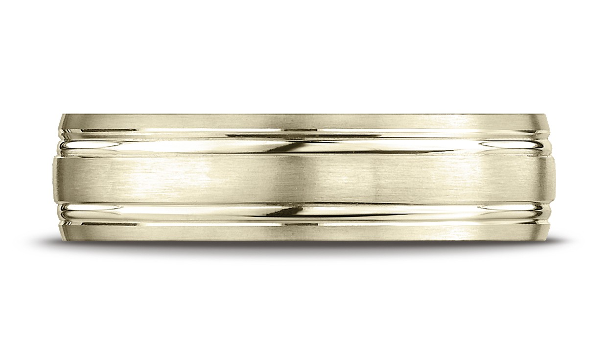 14k Yellow Gold 6mm Comfort-fit Satin-finished With Parallel Grooves Carved Design Band