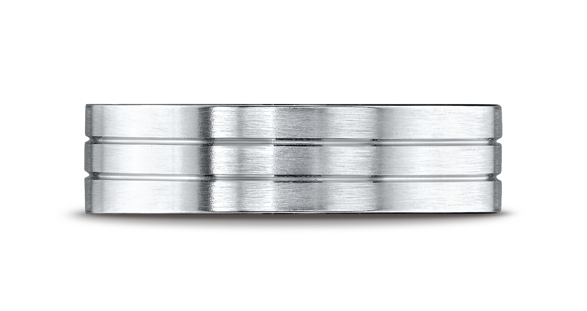 14k White Gold 6mm Comfort-fit Satin-finished With Parallel Center Cuts Carved Design Band