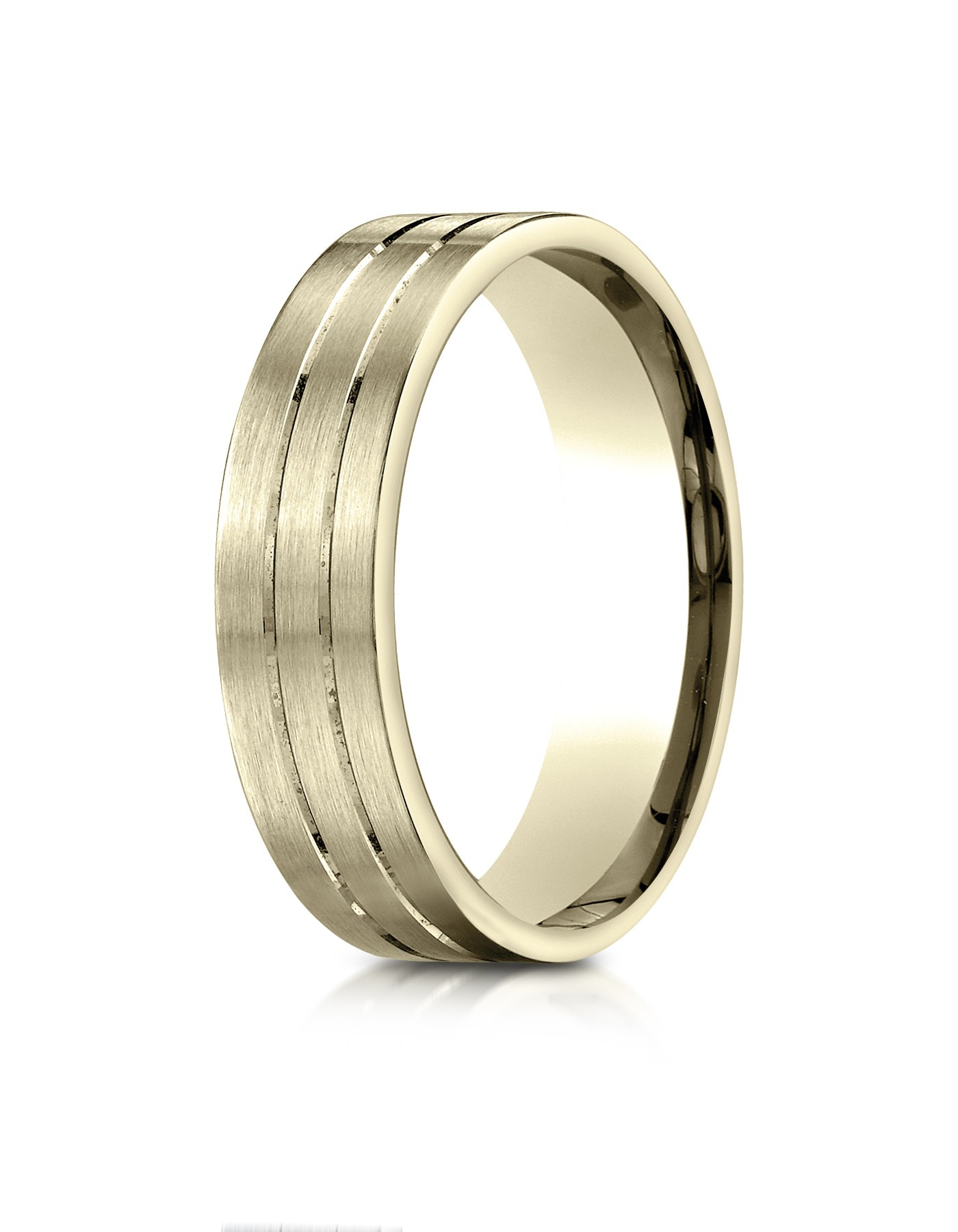 14k Yellow Gold 6mm Comfort-fit Satin-finished With Parallel Center Cuts Carved Design Band