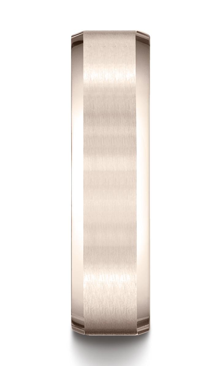14k Rose Gold 6mm Comfort-fit Satin-finished With High Polished Beveled Edge Carved Design Band