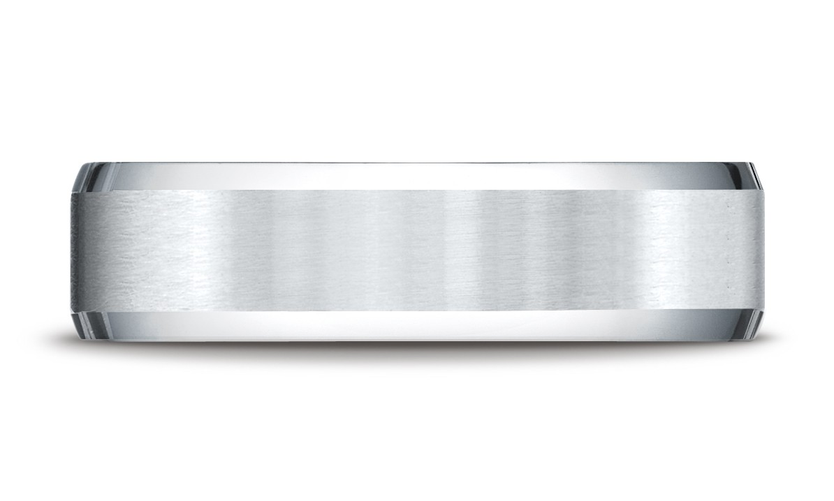 14k White Gold 6mm Comfort-fit Satin-finished With High Polished Beveled Edge Carved Design Band