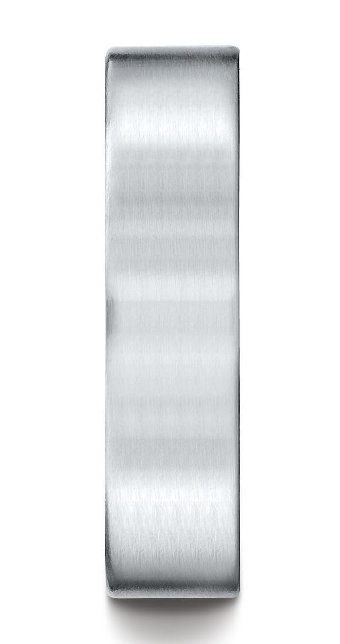 14k White Gold 6mm Comfort-fit Satin-finished Carved Design Band