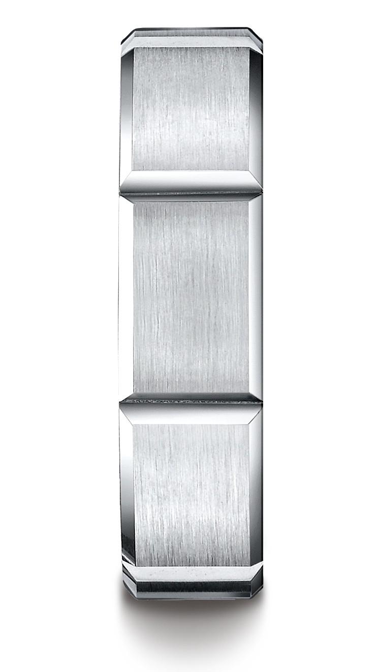 14k White Gold 6mm Comfort-fit Satin-finished Grooves Carved Design Band