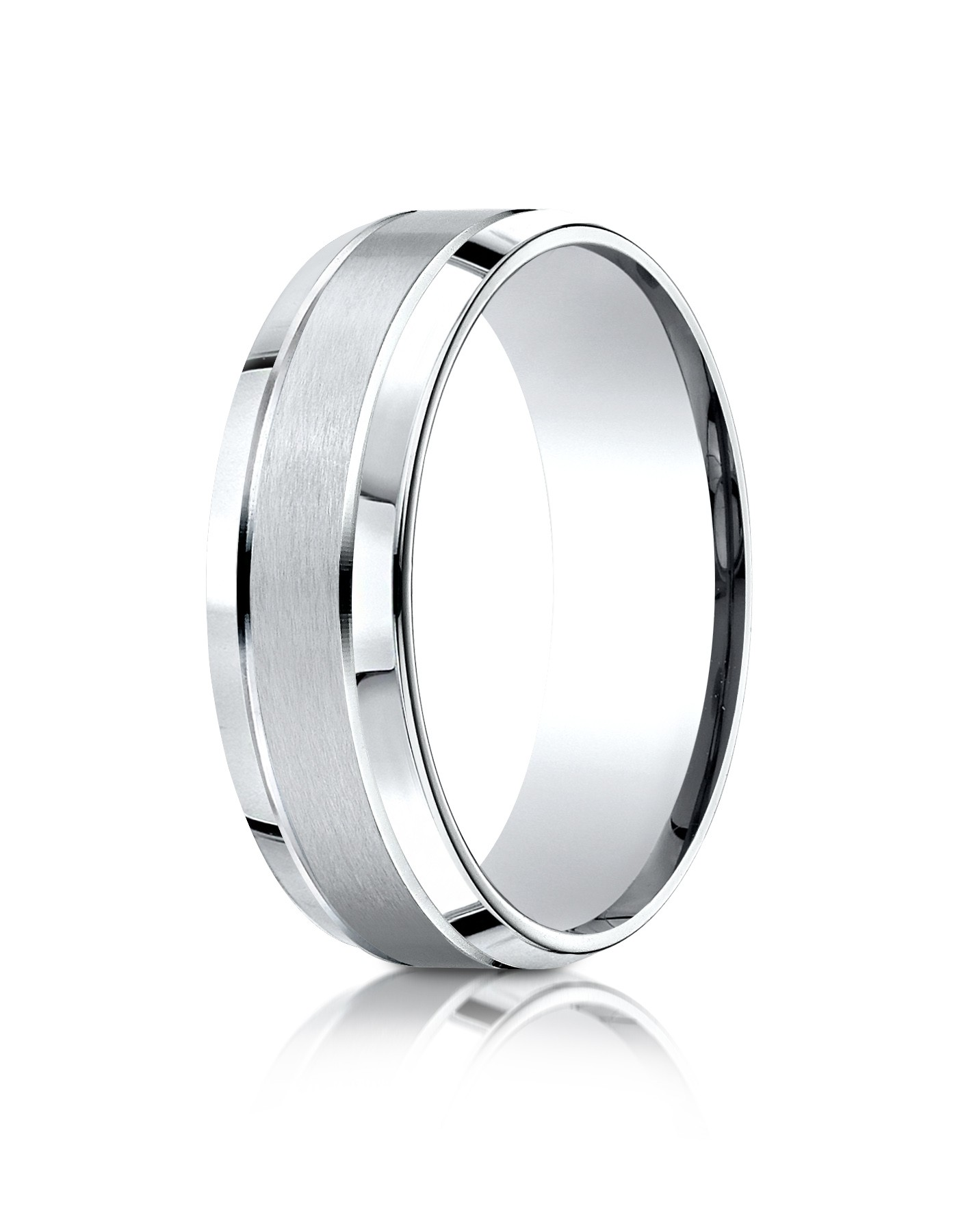14k White Gold 7mm Comfort-fit Satin-finished High Polished Beveled Edge Carved Design Band