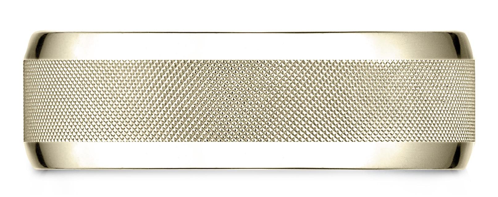 14 Karat Yellow Gold 7mm Comfort-fit High Polish Round Edge Cross Hatch Center Design Band