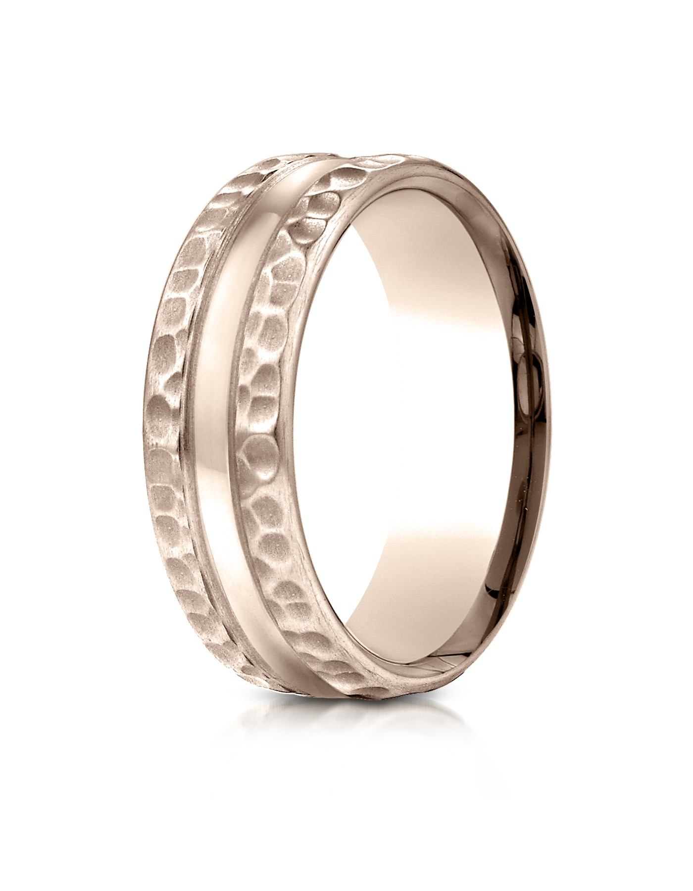 14k Rose Gold 7.5mm Comfort Fit Hammered Finish Center Cut Design Band