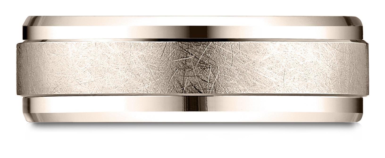 14 Karat Rose Gold 7mm Comfort-fit Drop Bevel Swirl Finish Center Design Band