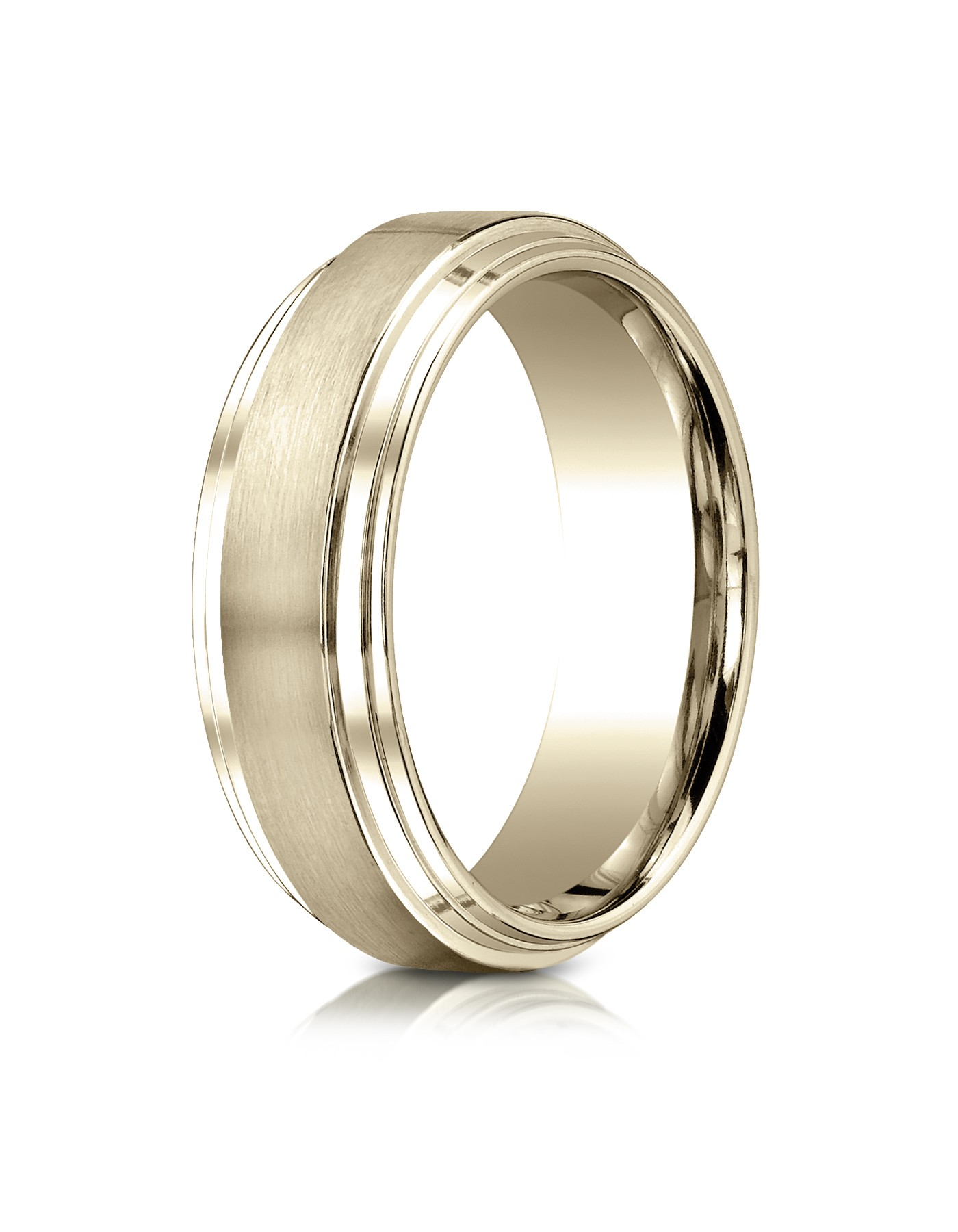 18k Yellow Gold 8mm Comfort-fit Satin-finished Step Edge Carved Design Band