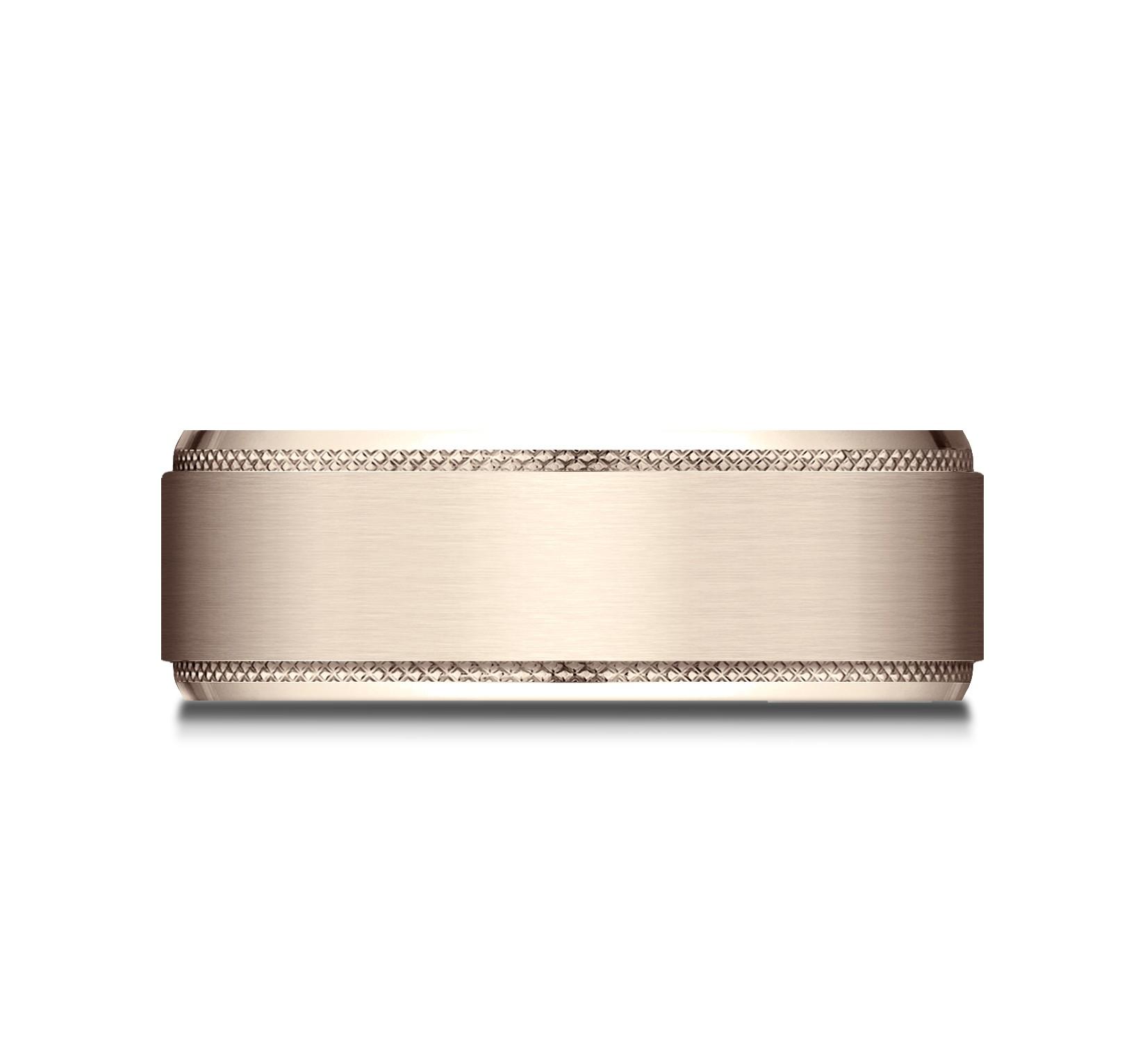 14k Rose Gold 8mm Comfort Fit Knurled Drop Bevel Satin Finish Design Band