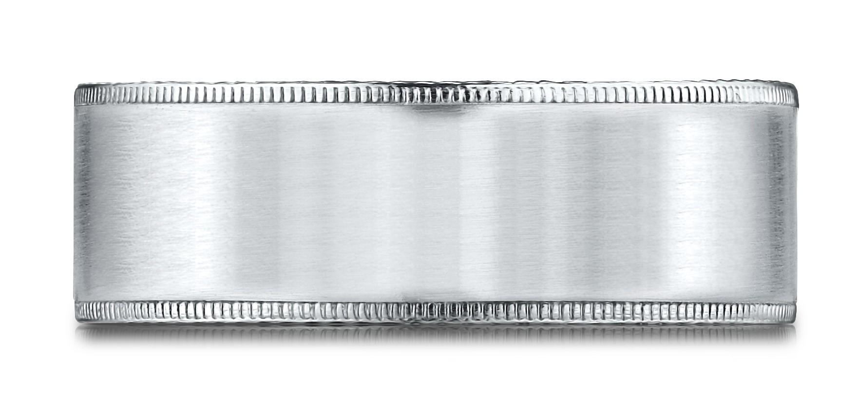 14k White Gold 8mm Comfort-fit Riveted Edge Satin Finish Design Band