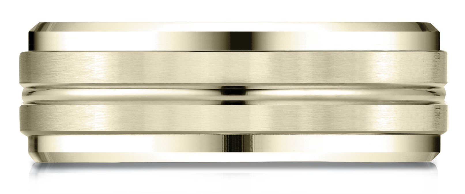 14k Yellow Gold 8mm Comfort-fit Drop Bevel Satin Center Cut Design Band