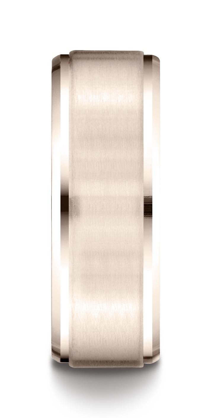 14k Rose Gold 8mm Comfort-fit Satin-finished Drop Beveled Edge Carved Design Band