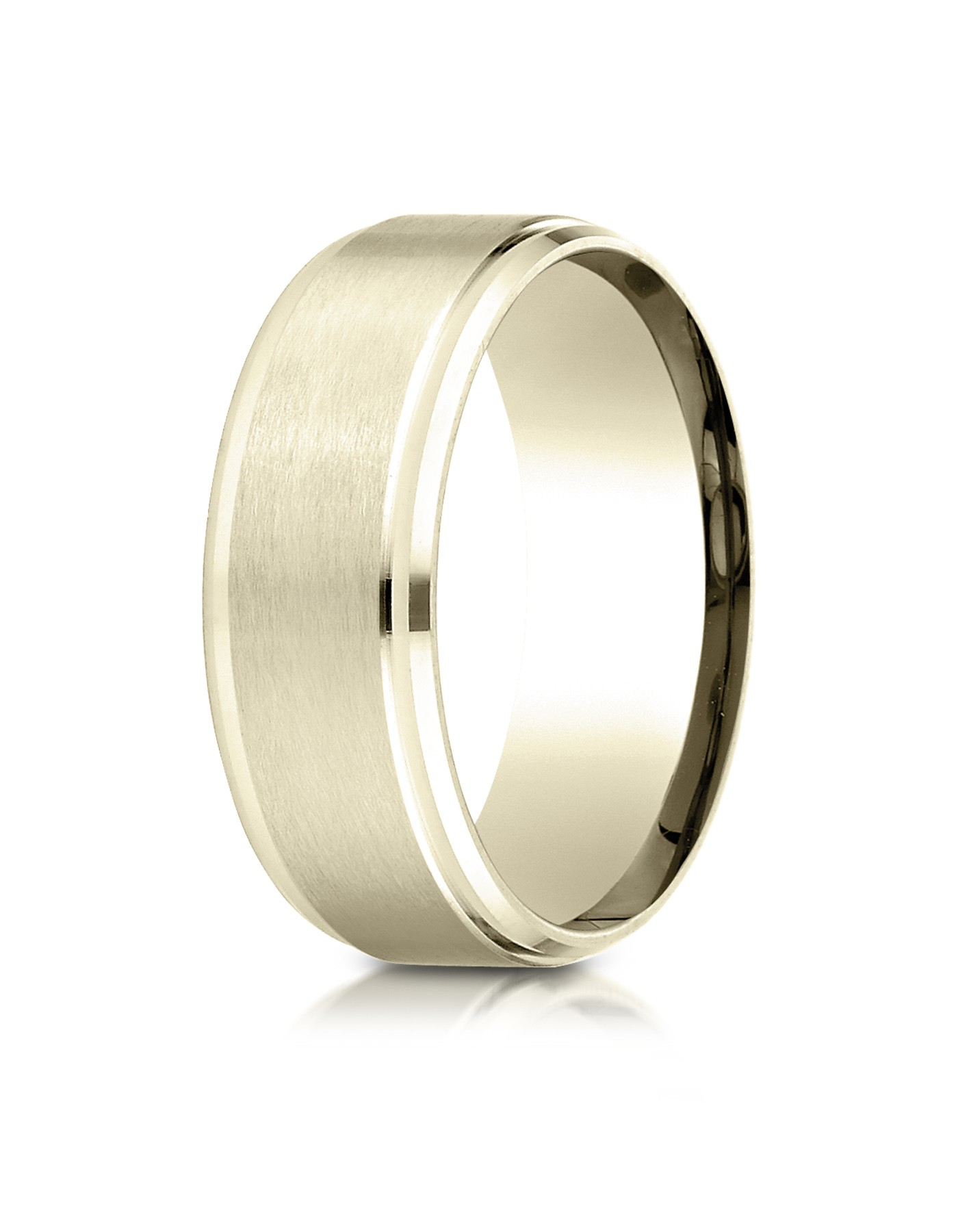 18k Yellow Gold 8mm Comfort-fit Satin-finished Drop Beveled Edge Carved Design Band