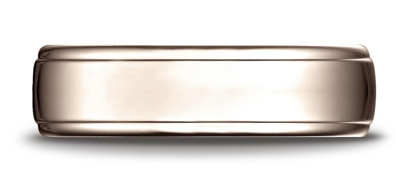 14 Karat Rose Gold 6.5mm Comfort-fit Drop Edge High Polish Design Band
