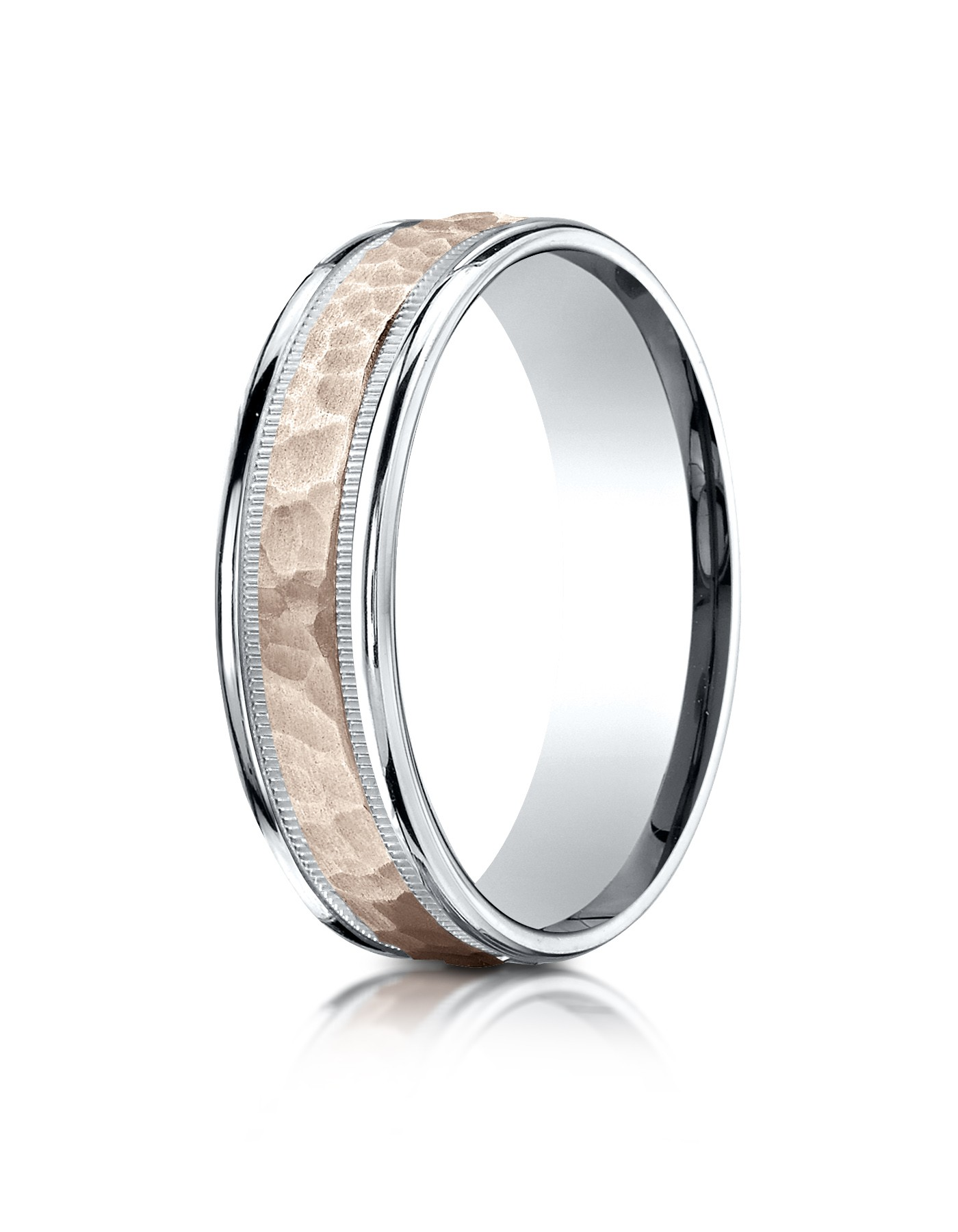 14k Two-toned 6mm Comfort-fit Hammer Finish Design Band