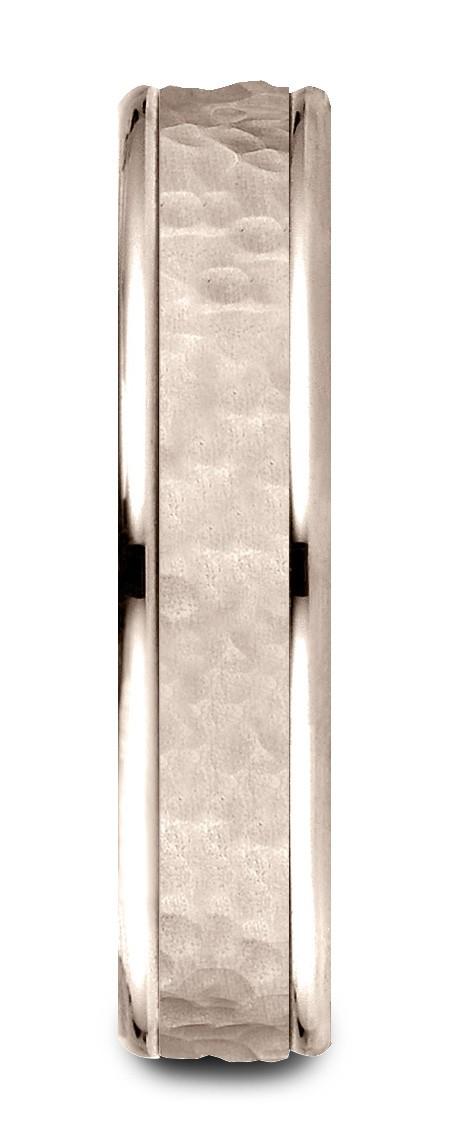 14k Rose Gold Comfort Fit 4mm High Polish Edge Hammered Center Design Band
