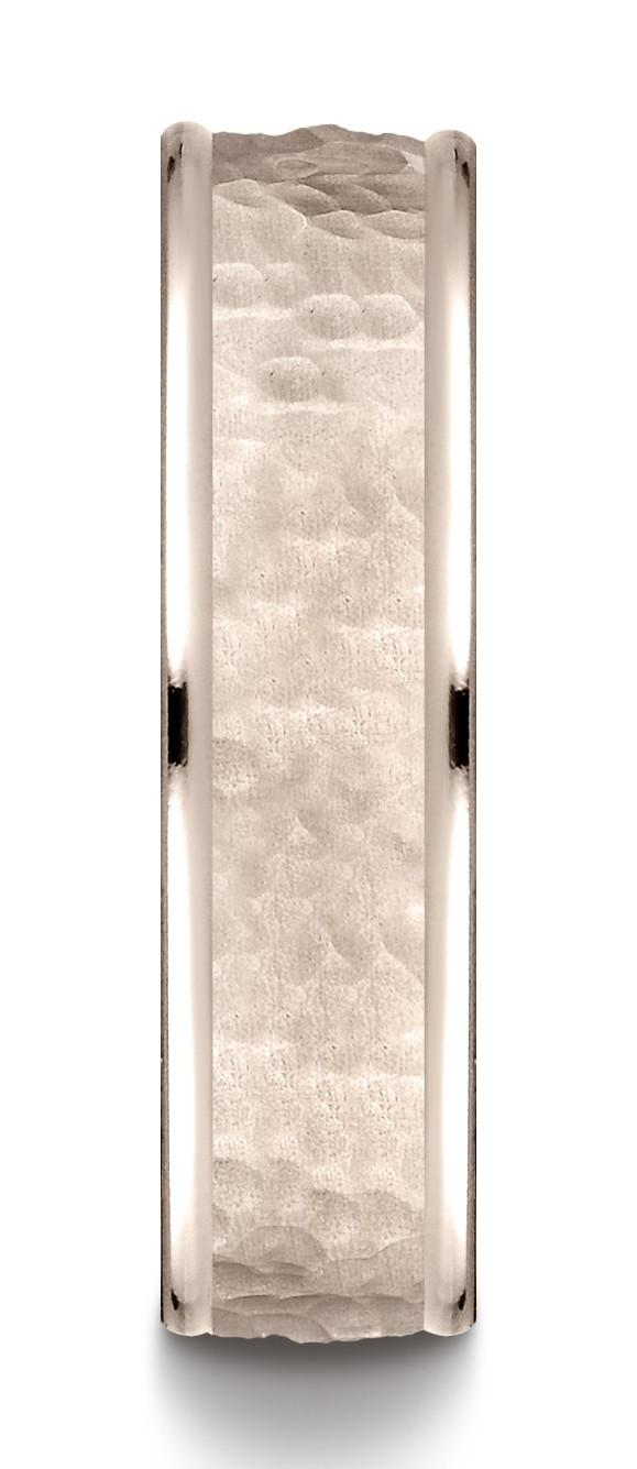 14k Rose Gold Comfort Fit 6mm High Polish Edge Hammered Center Design Band