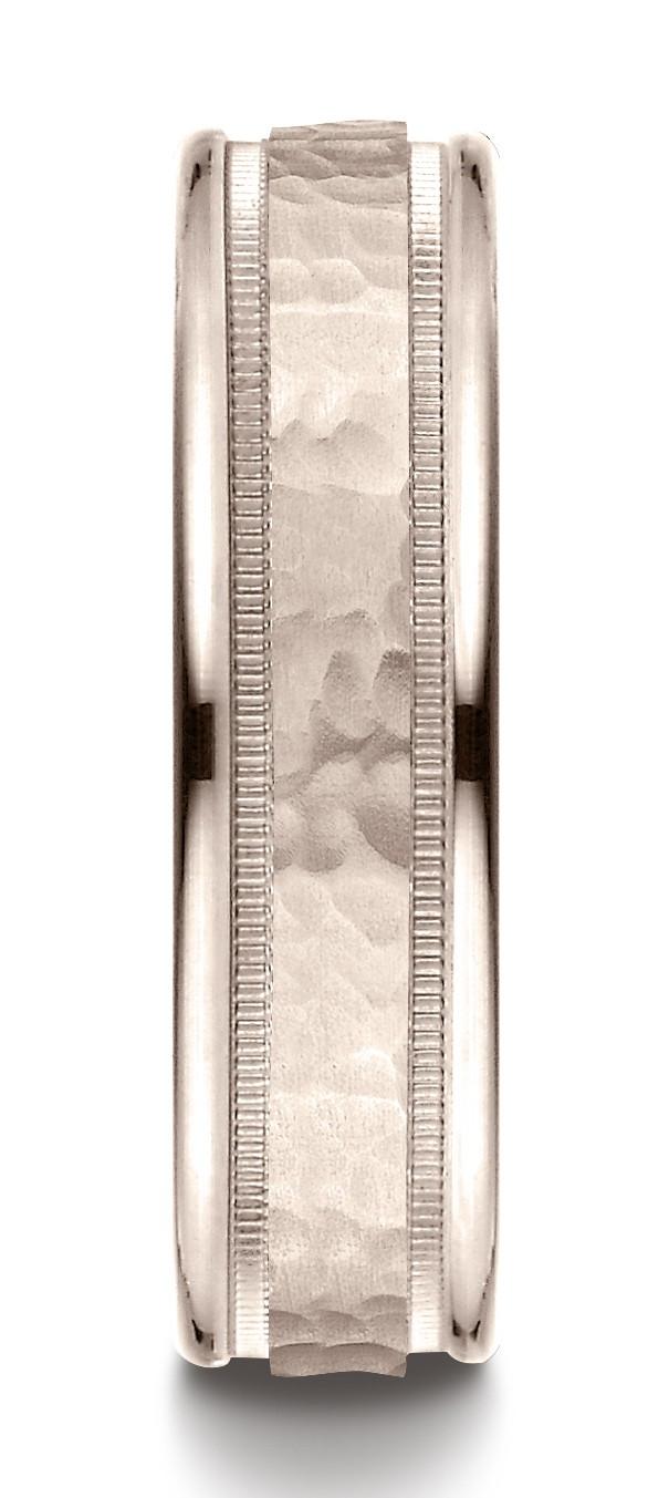 14 Karat Rose Gold 6mm Comfort-fit Hammered Center High Polish Round Edge Carved Design Band