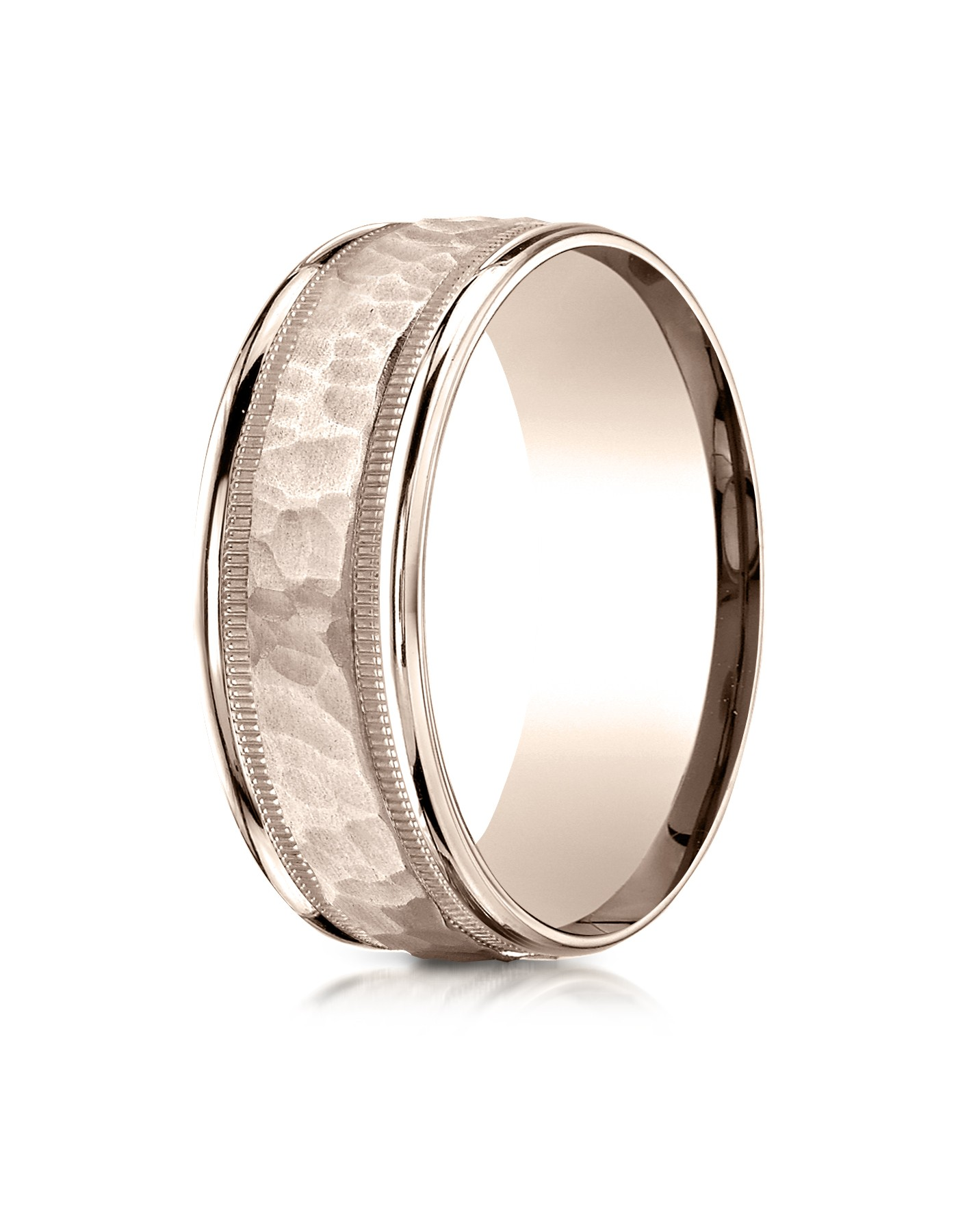 14 Karat Rose Gold 8mm Comfort-fit Hammered Center High Polish Round Edge Carved Design Band
