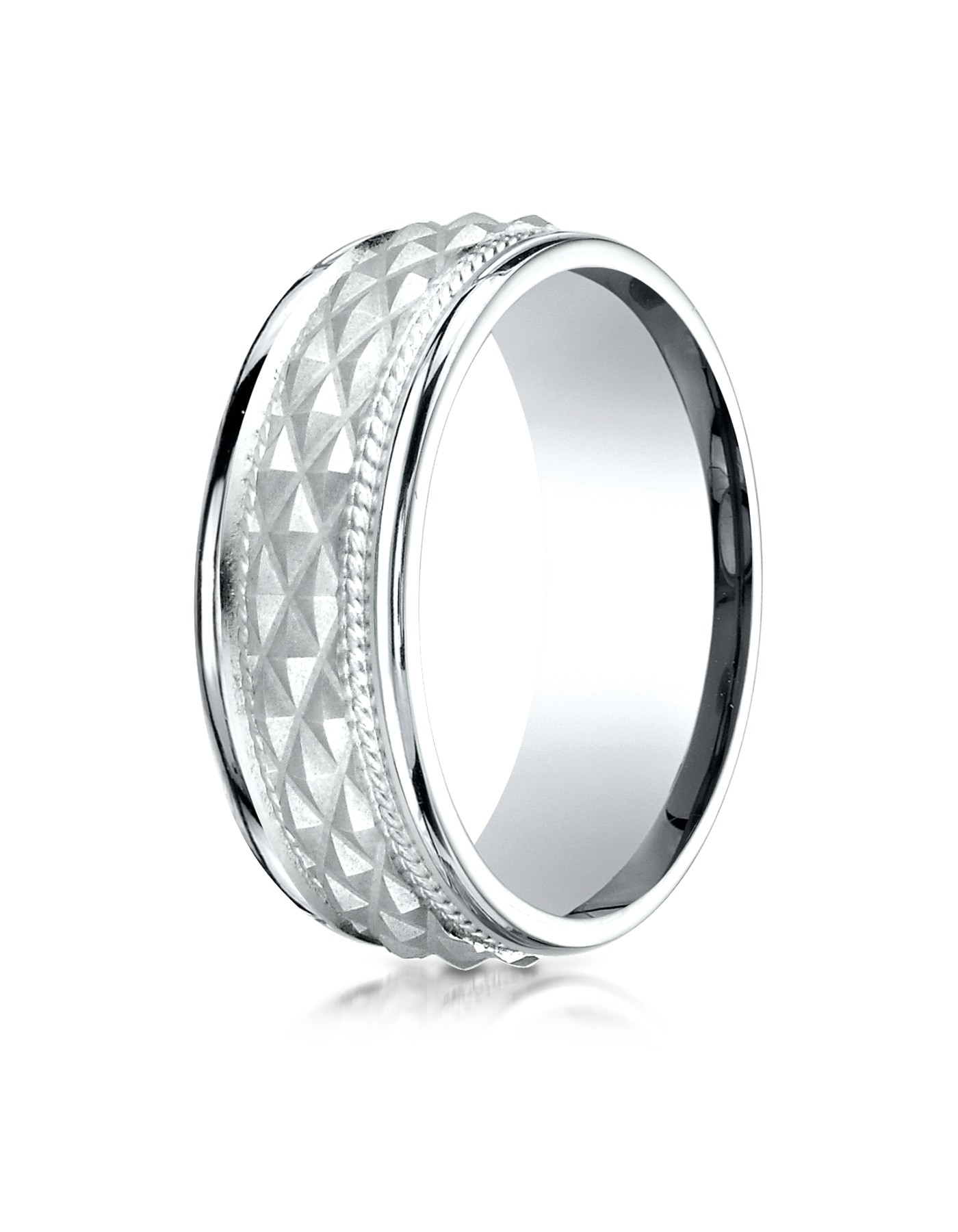 14k White Gold 8mm Comfort Fit Round Edge Cross Hatch Patterned Band