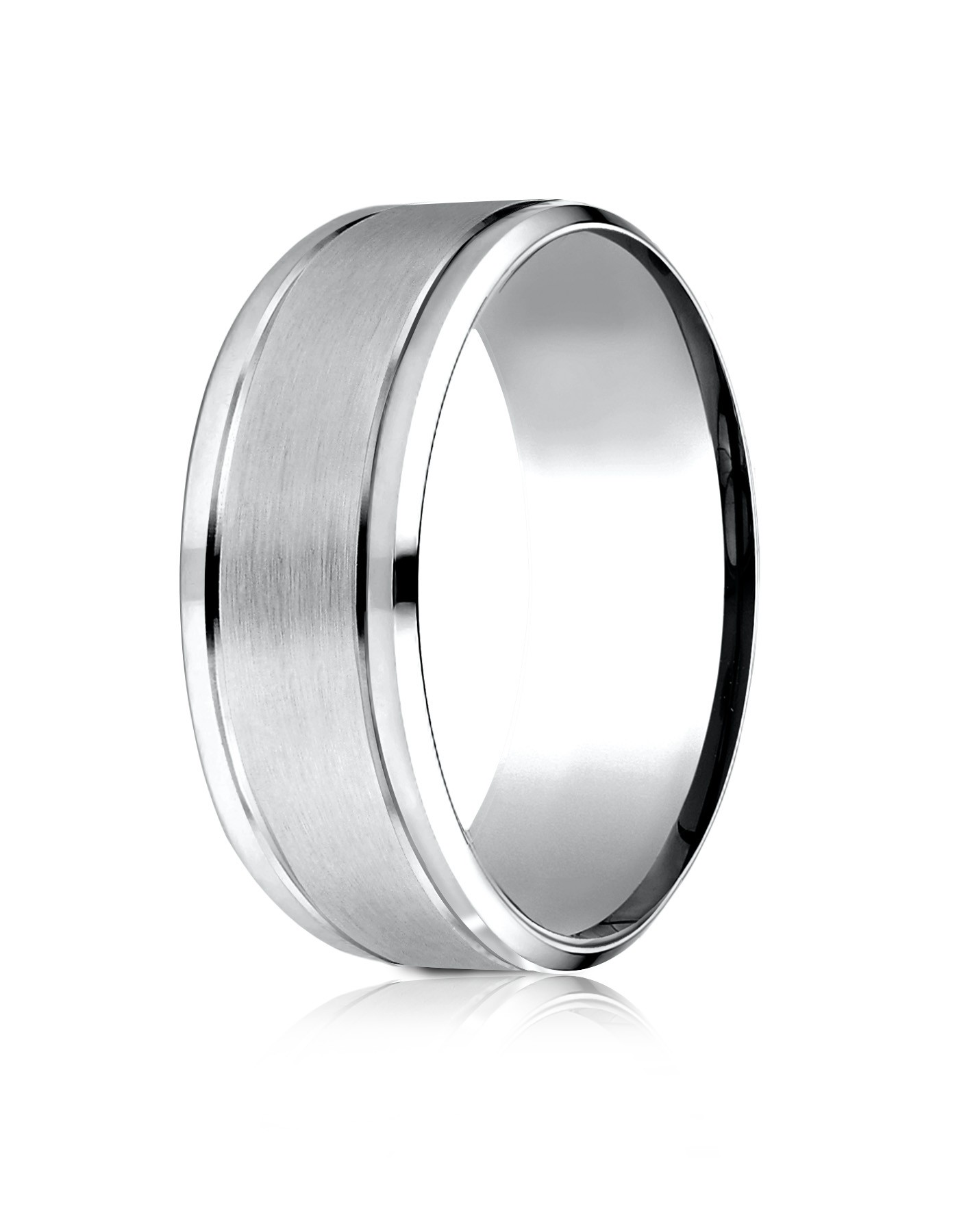 14 Karat White Gold 8mm Comfort-fit Drop Bevel Satin Finish Design Band