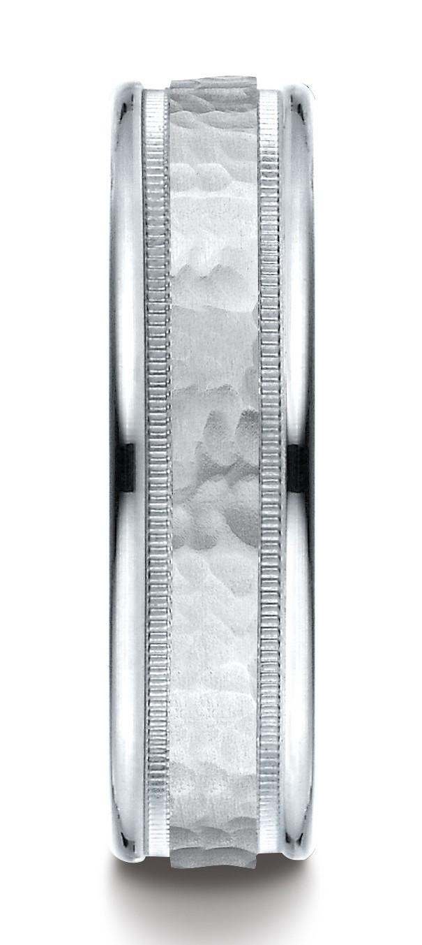 14k White Gold 6mm Comfort-fit Hammered Center High Polish Round Edge Carved Design Band