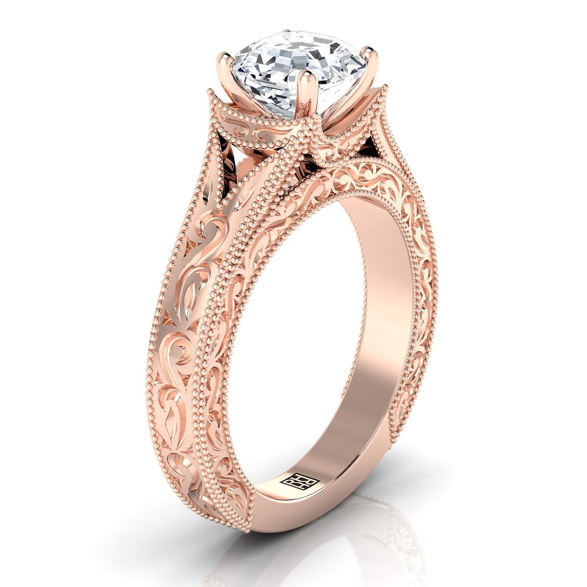 Asscher Cut Antique Inspired Engraved Diamond Engagement Ring With Millgrain Finish In 14k Rose Gold