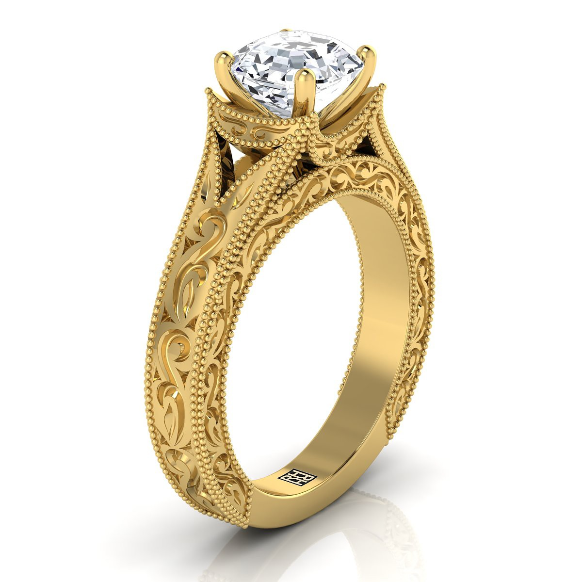 Asscher Cut Antique Inspired Engraved Diamond Engagement Ring With Millgrain Finish In 14k Yellow Gold