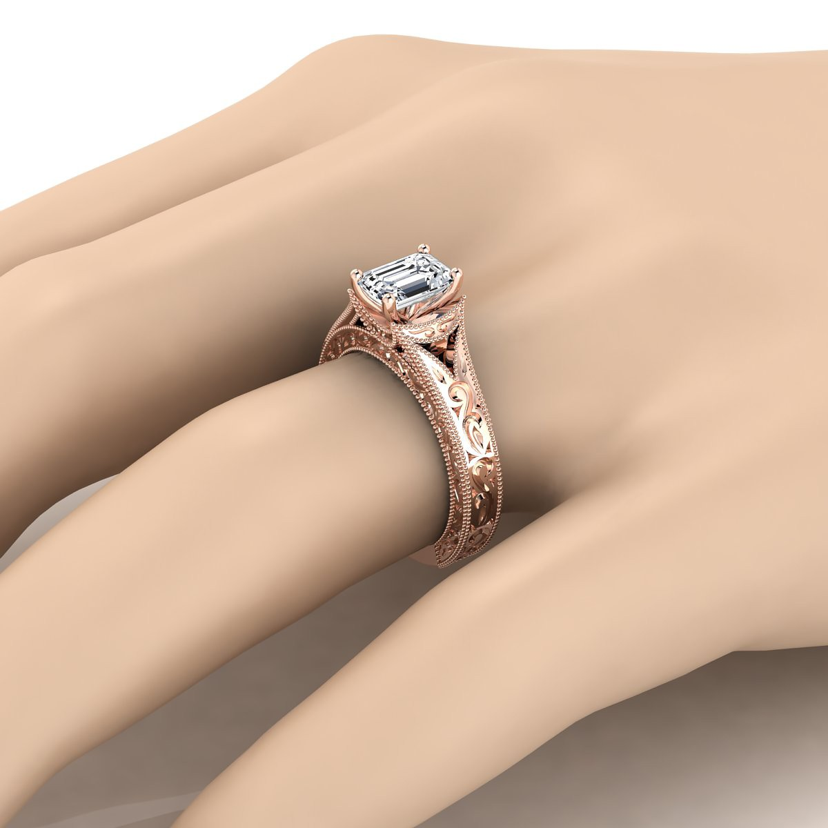 Emerald Cut Antique Inspired Engraved Diamond Engagement Ring With Millgrain Finish In 14k Rose Gold