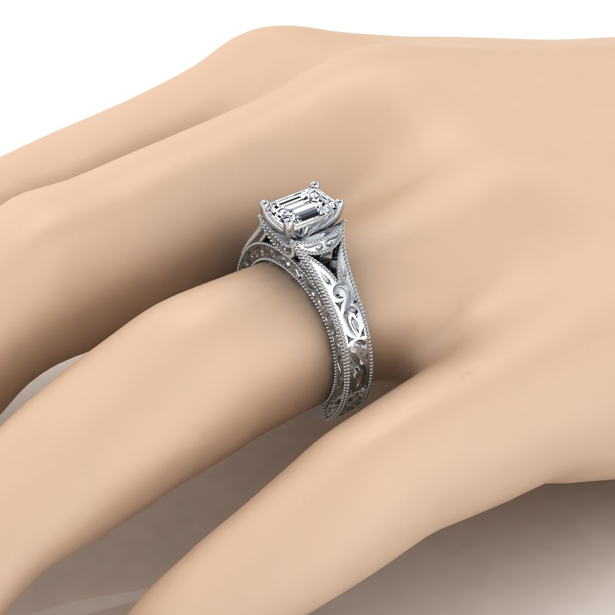Emerald Cut Antique Inspired Engraved Diamond Engagement Ring With Millgrain Finish In 14k White Gold