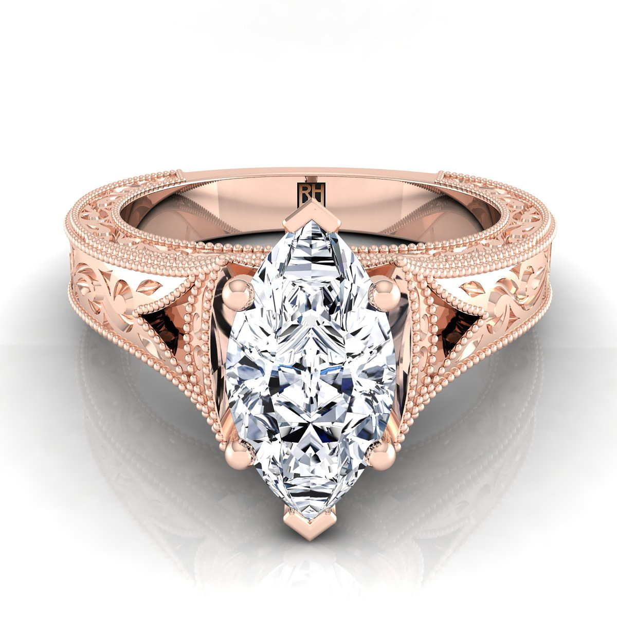 Marquise Antique Inspired Engraved Diamond Engagement Ring With Millgrain Finish In 14k Rose Gold