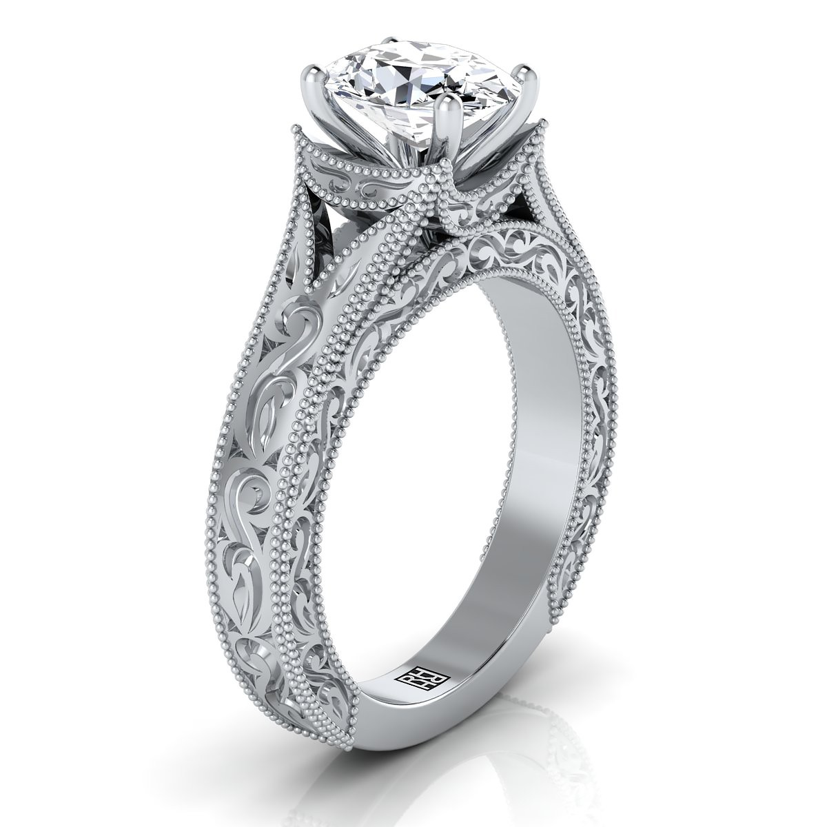 Oval Antique Inspired Engraved Diamond Engagement Ring With Millgrain Finish In 14k White Gold