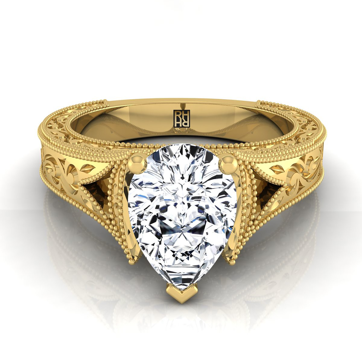 Pear Shape Antique Inspired Engraved Diamond Engagement Ring With Millgrain Finish In 14k Yellow Gold