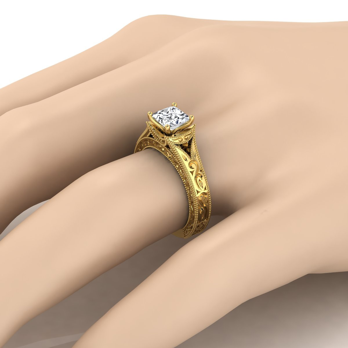 Princess Cut Antique Inspired Engraved Diamond Engagement Ring With Millgrain Finish In 14k Yellow Gold