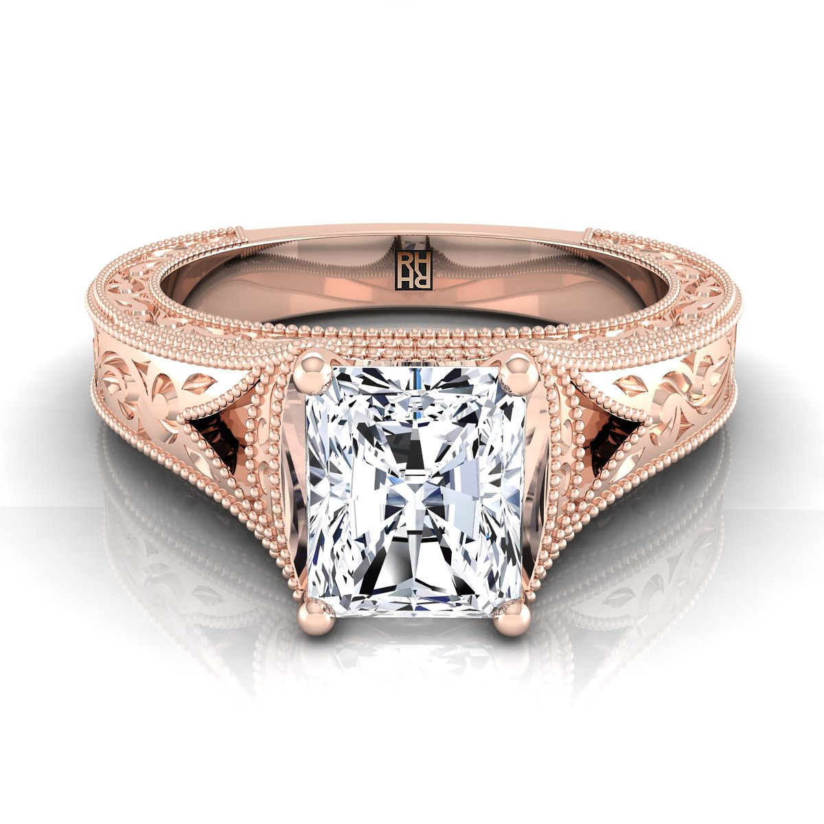 Radiant Cut Antique Inspired Engraved Diamond Engagement Ring With Millgrain Finish In 14k Rose Gold