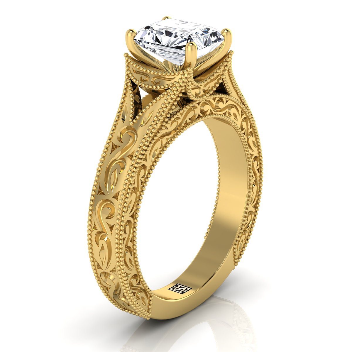 Radiant Cut Antique Inspired Engraved Diamond Engagement Ring With Millgrain Finish In 14k Yellow Gold