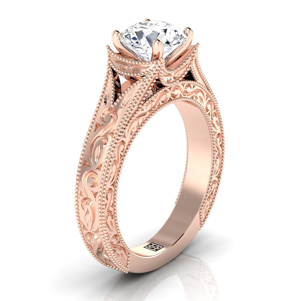 Round Brilliant Antique Inspired Engraved Diamond Engagement Ring With Millgrain Finish In 14k Rose Gold