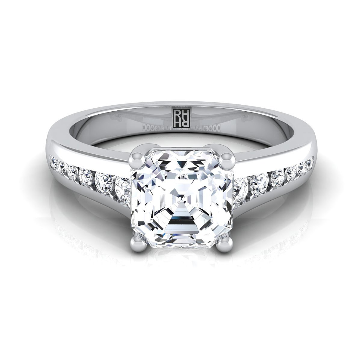 Asscher Cut Channel Diamond Engagement Ring In 14k White Gold (1/6 Ct.tw.)