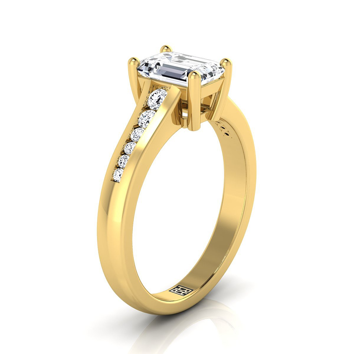 Emerald Cut Channel Diamond Engagement Ring In 14k Yellow Gold (1/6 Ct.tw.)