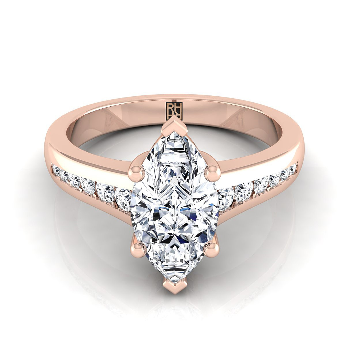 Marquise Channel Diamond Engagement Ring In 14k Rose Gold (1/6 Ct.tw.)