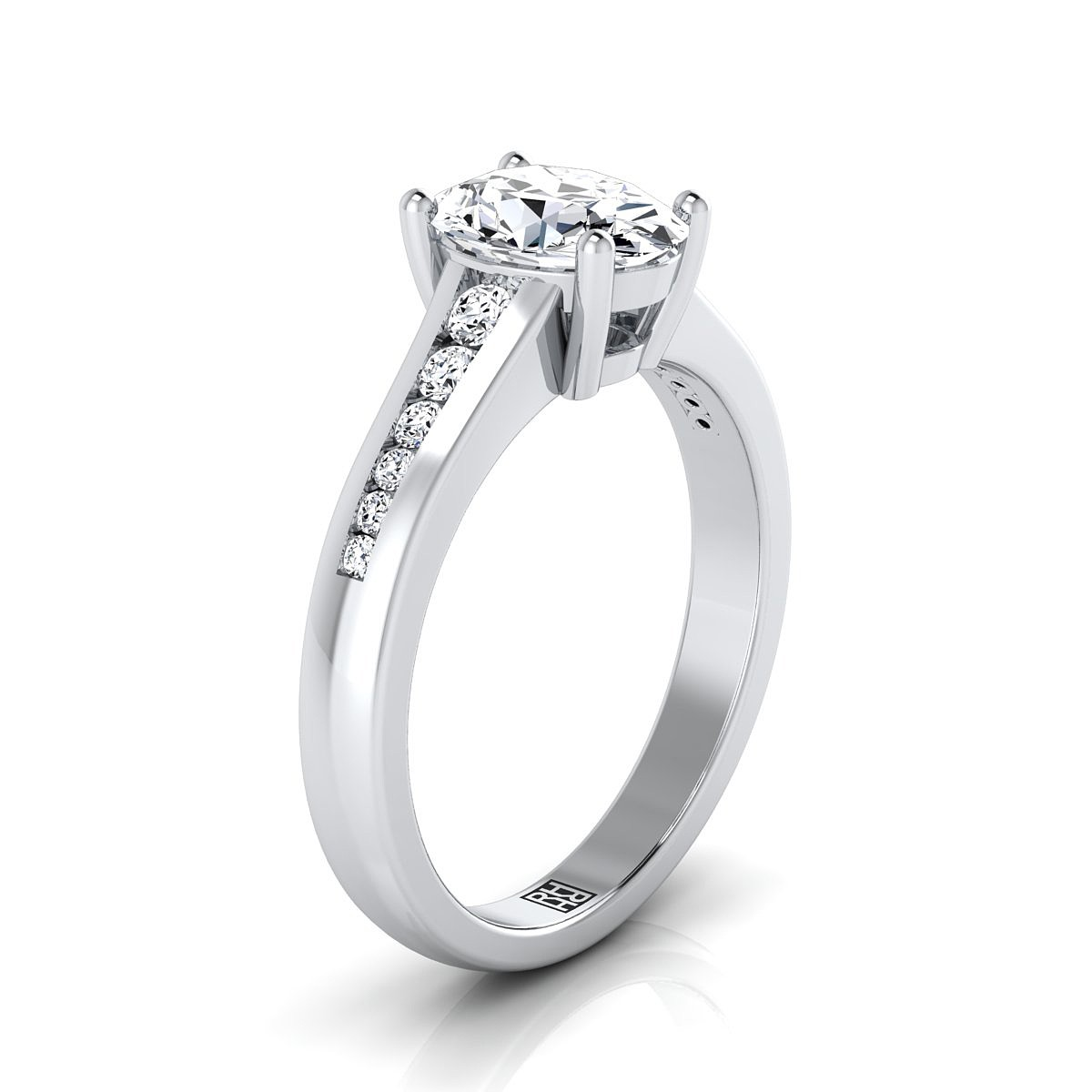 Oval Channel Diamond Engagement Ring In 14k White Gold (1/6 Ct.tw.)