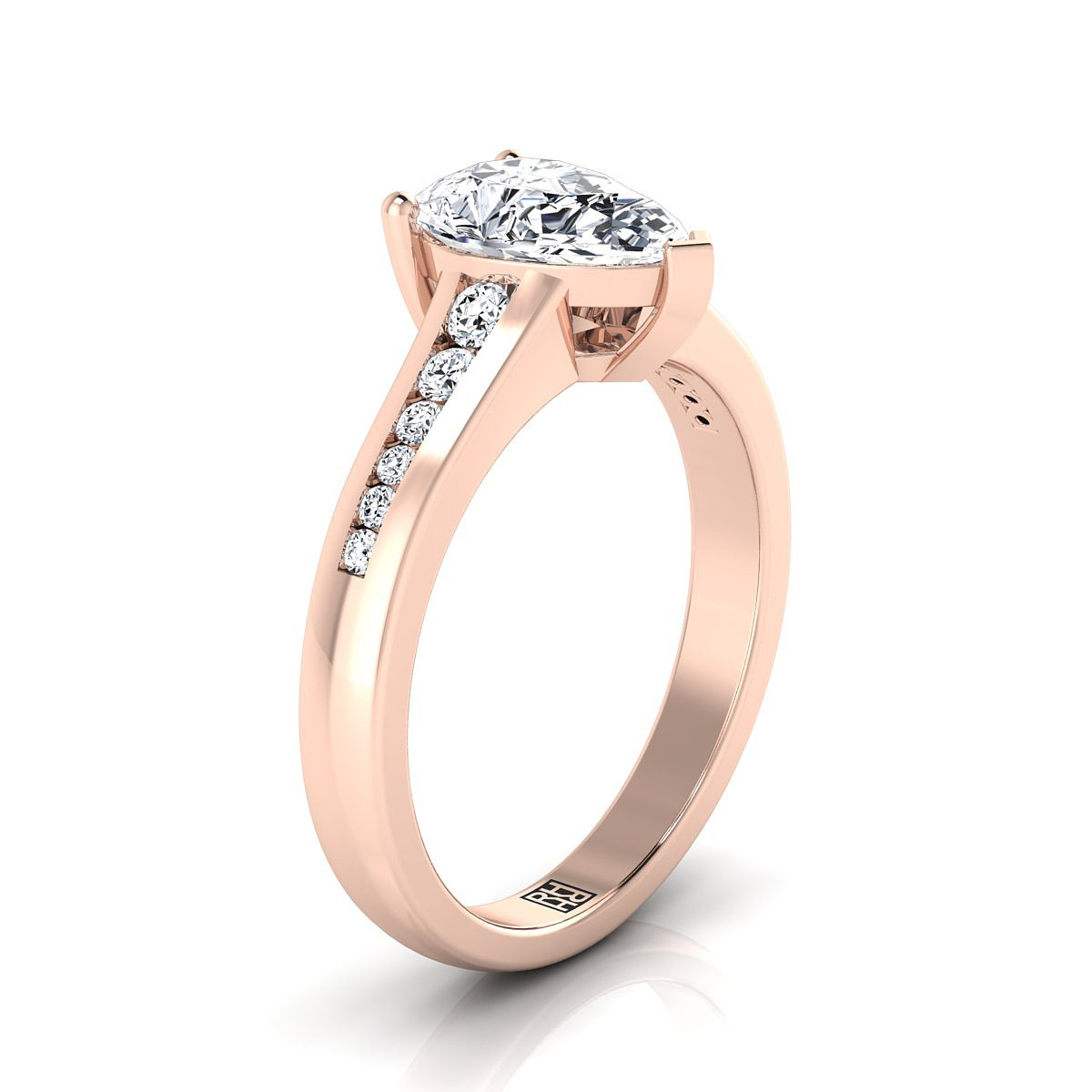 Pear Shape Channel Diamond Engagement Ring In 14k Rose Gold (1/6 Ct.tw.)