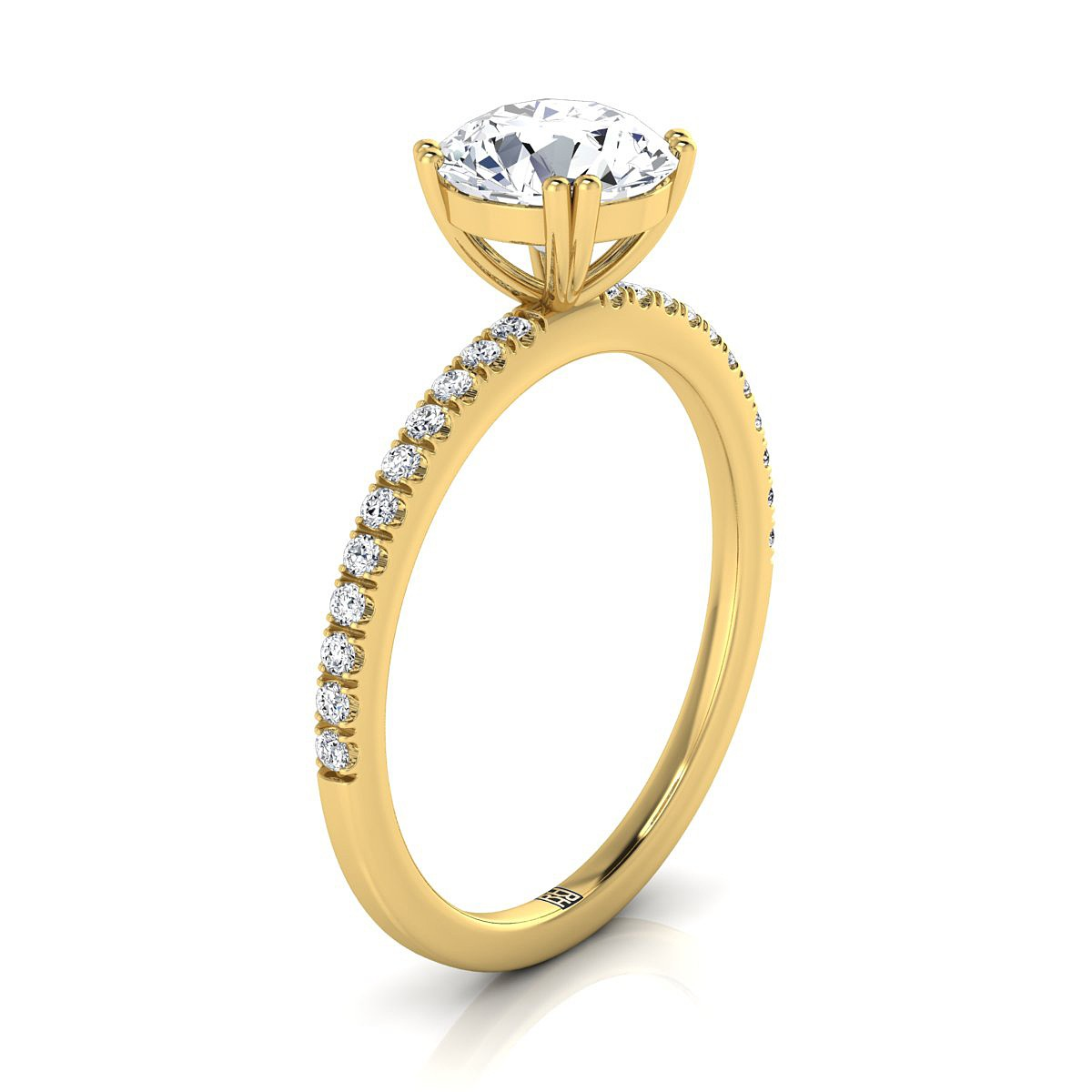 Classic Petite Split Prong  Diamond Engagement Ring In 14k Yellow Gold (1/6 Ct.tw.)